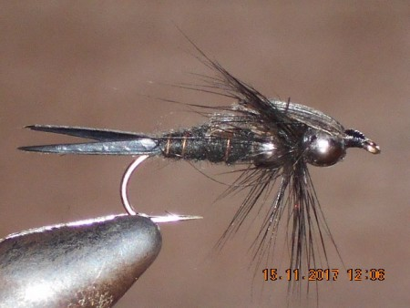 Double bead black stone fly nymph