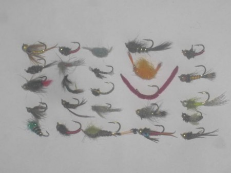 25 Assorted bead head nymphs fly fishing flies